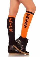 Vibrant Trick or Treat Knee High Socks with Elastic Cuff, Black and Orange