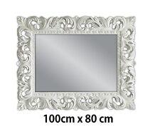Specchio muro BIANCO Antico Barocco Repro Shabby Chic GLAMOUR 100x80 WOE