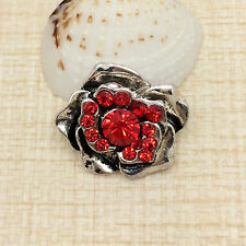 NEW Rhinestone Red Rose Charm Chunk Snap Button fit for Noosa Bracelet KOE49