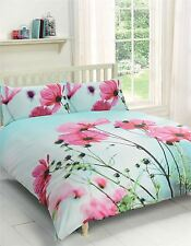 POPPY FLORAL PINK DUCK EGG BLUE KING SIZE COTTON BLEND DUVET COMFORTER COVER SET
