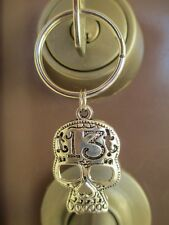 Large Lucky 13 Skull Key Ring Key Ring-Motorcycle Biker Chick