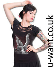 Spiral Direct Gothic Tears Of An Angel Lace Layered T-Shirt UK 14 Size L  (1425)