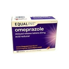 NEW SEALED EQUALINE OMEPRAZOLE 20 mg 42 TABLETS ACID REDUCER 2/18 FREE USA ship!