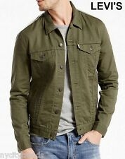 New LEVI'S trucker jacket green olive khaki army military jean rare slim M NWT