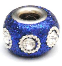 2 BLUE GLITTER KASHMIRI CHARM BEADS, LARGE HOLE, 15MM
