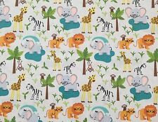 By 1/2 Yard ~ Lewis and Irene Fabric ~ Safari Park ~ Cute Zoo Animals Pale Gray