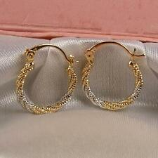 "SALE 9ct 9K White / Yellow "" Gold Filled ""  20mm Hoop Earrings Valentine E630"