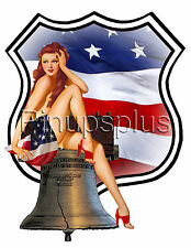 American Flag Liberty Pin up Bomber Nose Art Guitar Waterslide Decal S322