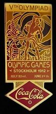 1912 Stockholm~Coca Cola Olympic Poster Pin Badge~1988 Coke~Vth Olympiad~New