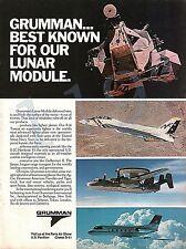GRUMMAN LUNAR MODULE . F-14 TOMCAT . E-2C HAWKEYE . GULFSTREAM II - 1975 ADVERT