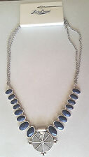 NWT  Lucky Brand  Necklace Silver Tone Navy Blue Semi Precious  Stones JLD1215