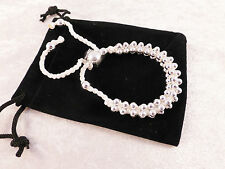 Silver Plated White Rope Woven Beads Cuff / Bangle / Bracelet + Free Gift Bag