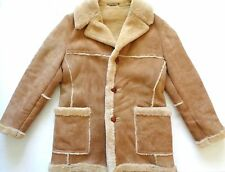 Sawyer of Napa Beige Deerskin Suede Leather and Shearling Warm Jacket Coat sz 40