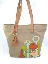 FOSSIL USED JULES KEY ICON EMBRODIERED OLIVE TOTE/SHOPPER/SHOULDER BAG