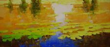 Water Lilies Large Oil Painting on Canvas Handmade Original Signed