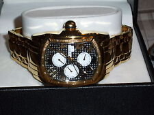 TECHNO COM by KC Men's New 16-Point Diam Chrono Day/Date Watch - NIB - Gold/BLK
