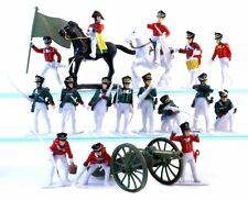 Napoleonic Russian Toy Soldiers 19 Pcs Cavalry Infantry Cannon Painted Plastic