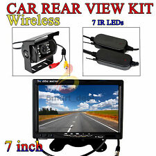 "Wireless Car Rear View Kit 7"" LCD Monitor + IR Reversing Backup Camera 18LED AUS"