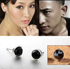 Fashion 1Pair Mens Round Black Agate Silver Ear Studs Earrings Unisex Jewelry TS