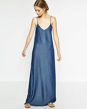 ZARA BEAUTIFUL LONG MAXI PLAIN DENIM DRESS SIZE Medium VERY RARE NEW