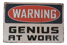 Warning Genius Funny Tin Sign Bar Cafe Diner Garage Wall Decor Retro Metal Gifts