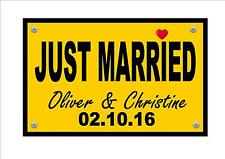 Novelty Number Plate ,Just Married  Number Plate, Personalised Brides Gift