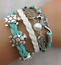 Infinity Hippocampus turtle Friendship Antique Silver Leather Charm Bracelet 1A