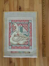 "Completed Wool Needlepoint ""Swans on Quilt"" - 14.5x11 - Peach, Mint Green, Cream"
