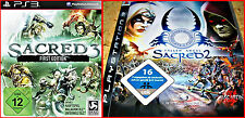 SONY PS3 3 GAMES: SACRED 2 -FALLEN LORDS + SACRED 3 UNCUT -FIRST EDITION +FIFA