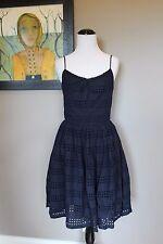 NWT J Crew Eyelet Stripe Dress in NAVY Sz 0 Extra Small XS A6588 $148