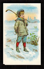 "AMERICAN SEWING MACHINE ""STOCK"" ICE HOCKEY 1880 Victorian Advertising Trade Card"