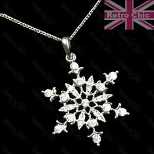 "RETRO 18KGP pendant CRYSTAL SNOWFLAKE NECKLACE winter star 18"" CHAIN SILVER TONE"