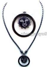 "SALE Big 38mm Circle Sun Smile Face Pendant Black Hematite 18"" Necklace -n5619"