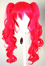 23'' Curly Pig Tails + Base Hot Pink Cosplay Wig NEW