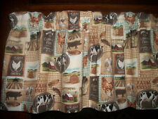 Tan Rooster Chicken Cow Pig country farm fabric kitchen curtain window Valance