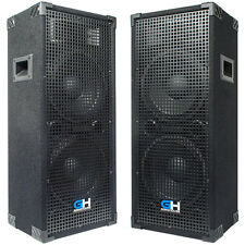 2100W Pair of Dual 10 inch Passive PA Loud Speakers for bands DJs KJs Venues