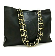 Auth CHANEL CC Logo Black Leather Chain Grand Shopping Tote Bag / 2hBEI