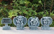 Miniature Dollhouse FAIRY GARDEN ~ MEDIEVAL Sign & 3 Gargoyles See Hear Speak No