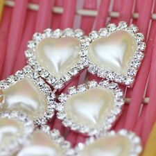 Hot 10pcs/set Solid Heart Shape Rhinestone Ribbon Wedding Buckles Sliders *