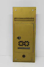 Vintage Brass Apartment Postal Recessed Mail Box w/ Lock & Doorbell Button Hole