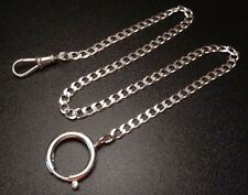 "STERLING SILVER 925 POCKET WATCH HOLDER CHAIN FOB SWIVEL CLASP 14"" LONG"