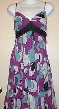 Mix It Ladies Embellished Cocktail Dress Purple Print Eight (8)  NWT