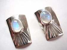 Moonstone Convex Stud Earrings 925 Sterling Silver Accented w/ Radiating Grooves