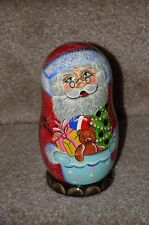 Nesting Dolls with Christmas 5 Ornaments Santa Russian Matryoshka Stacking Doll
