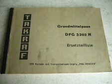 Grundmittelpass Ersatzteileliste Anleitung DDR VTA Gabelstapler Takraf DFG 3202N