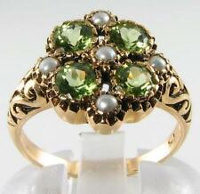LARGE VICTORIAN ART DECO INS NATURAL PERIDOT & PEARL RING FREE RESIZE