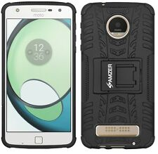 Amzer Rugged Dual Layer Hybrid Warrior Case Cover Stand For Moto Z Play - Black