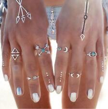 6 Pcs/Set Women Turquoise Arrow Moon Stone Knuckle Finger Stacking Ring Vintage