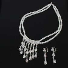 Collier Halskette mit Ohrringen Perlen Strass Kette Modeschmuck Hochzeit
