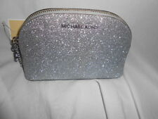 MICHAEL KORS ALEX MEDIUM TRAVEL POUCH SILVER GLITTER LEATHER COSMETIC MAKEUP BAG